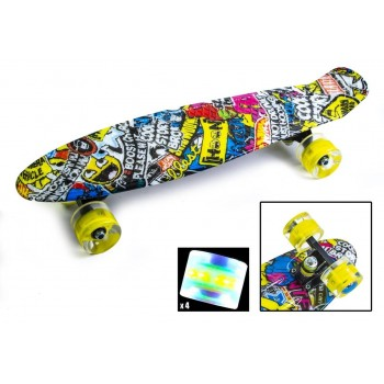 Пенни Борд с рисунком Zippy skateboards Ultra Led желтое граффити